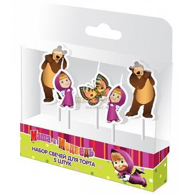 Свечи д/торта на пиках Маша и медведь 5 шт
