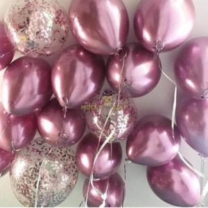 30 шаров хром розовый + конфетти