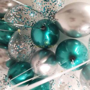 30 шаров хром серебро зеленый и конфетти
