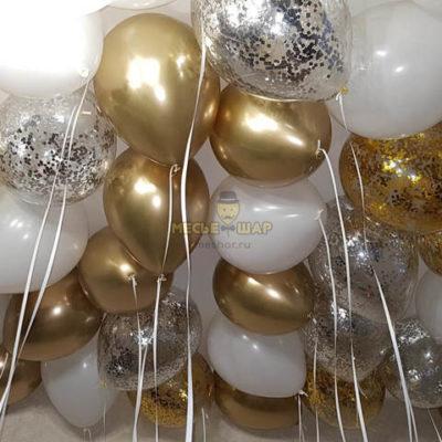 30 шаров хром золото, конфетти, белый