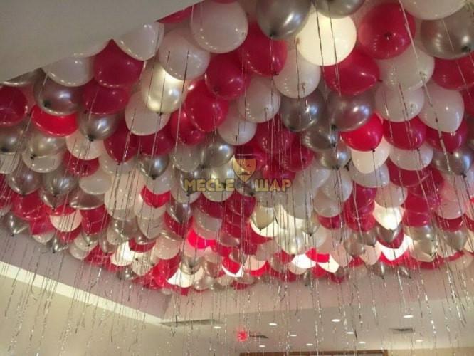 30 шаров красный, белый и серебро