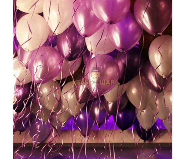 30 шаров - розовый, бургунди, серый, белый