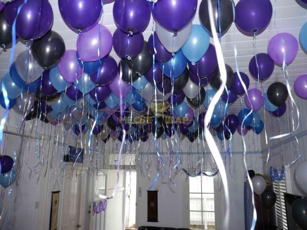 30 шаров синий, черный, фиолетовый и голубой