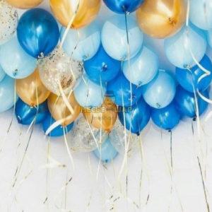 30 шаров золото, голубые и синие