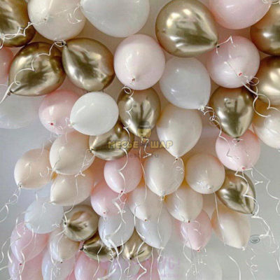 50 шаров золото хром, розовый, белый, телесный