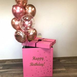 Розовая коробка с шарами