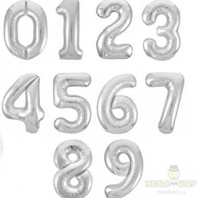 """Шары-цифры """"1-9"""" Серебристый"""