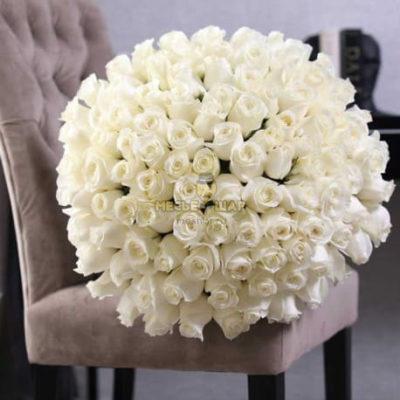 Букет белых роз 101 шт