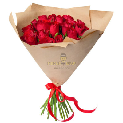 Букет красных роз 25 шт Кения