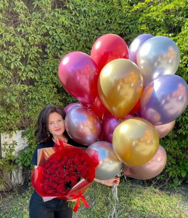 20 шаров хром + 51 роза