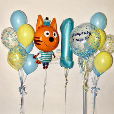 "Набор шаров ""Три кота"" на годик"