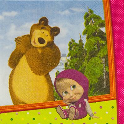 """Салфетка """"Маша и Медведь"""" 33см 12 шт"""