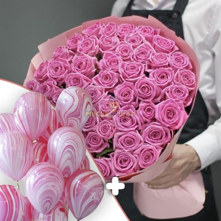 """15 шаров """"Агаты розовые"""" + 51 розовые розы"""