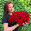 Букет красных роз 25 шт Эквадор 50 см