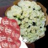 """25 шаров """"Я тебя люблю"""" + 51 белые розы"""