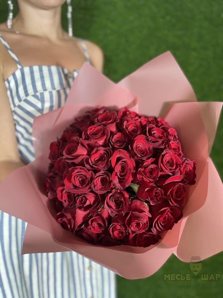 ХИТ Букет красных роз 51 шт Кения 50 см