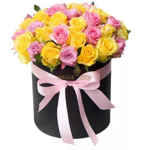 51 роза MIX (желтые и розовые) в шляпной коробке
