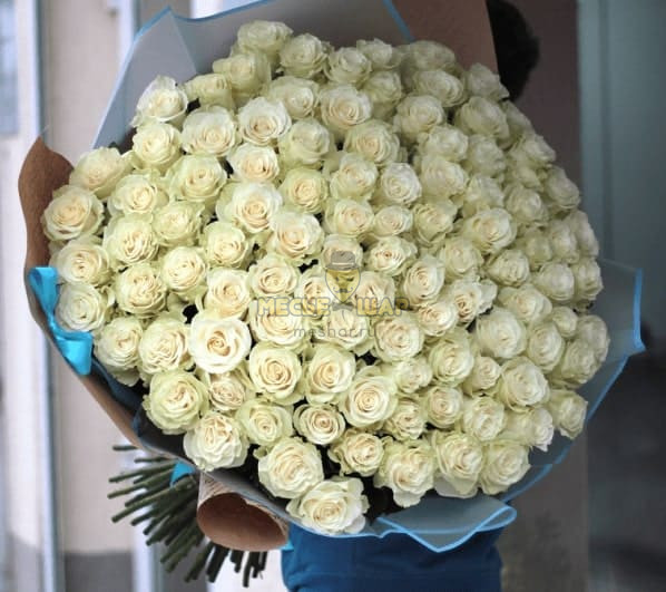 Букет белых роз 101 шт Эквадор 50 см