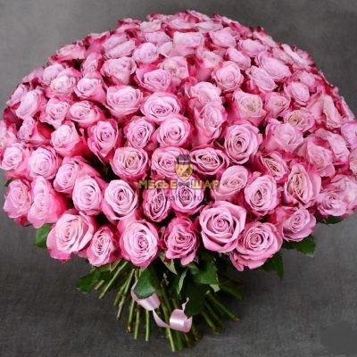 Букет розовых роз 101 шт Эквадор 50 см