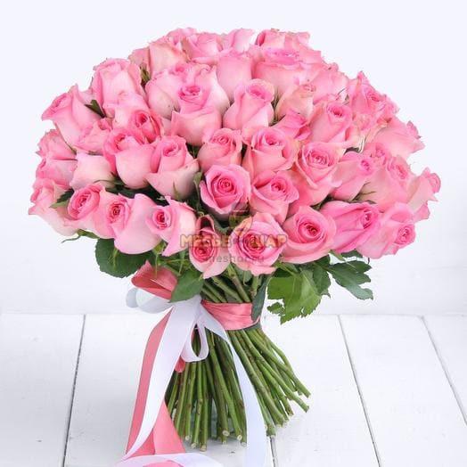 Букет розовых роз 101 шт Кения 50 см