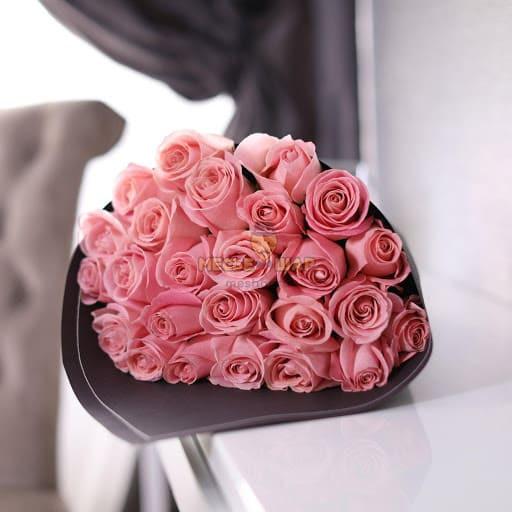 Букет розовых роз 25 шт Эквадор 50 см