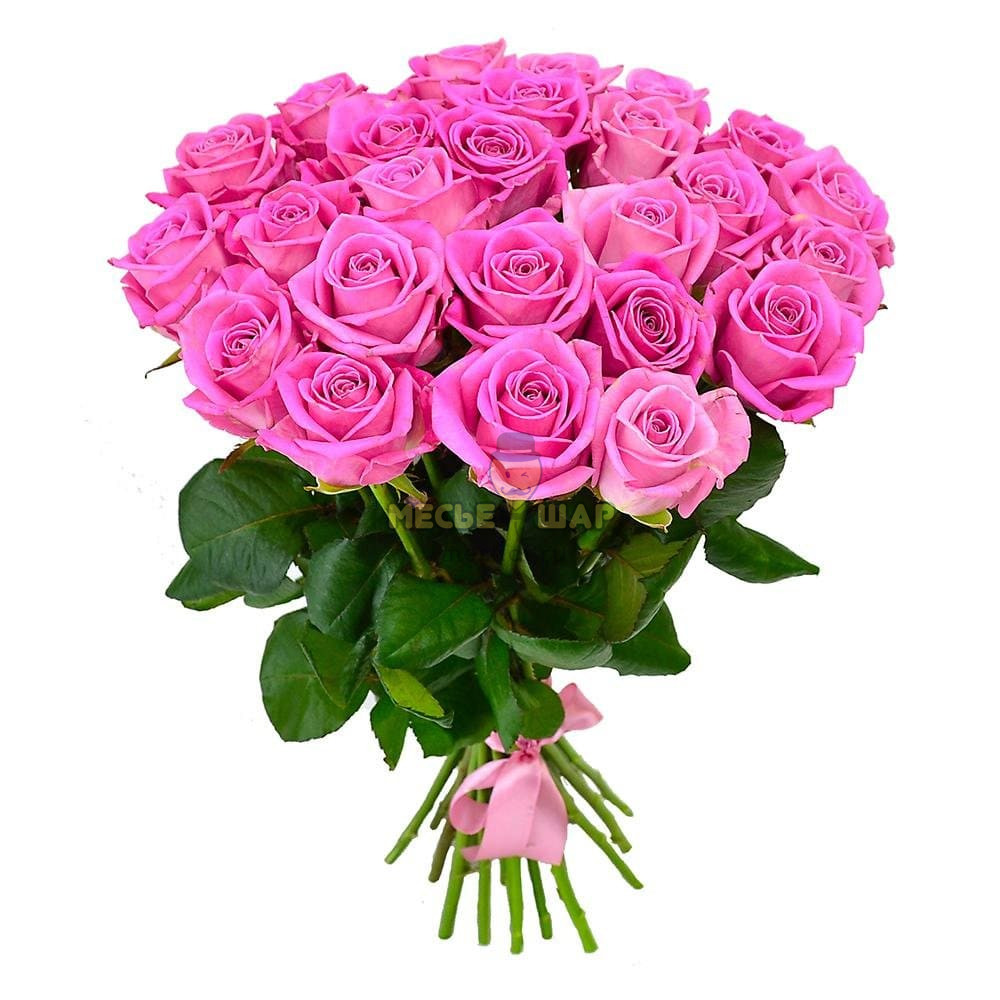 Букет розовых роз 25 шт Россия 50 см