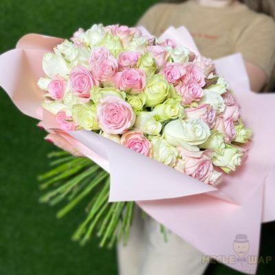 Букет роз микс 51 шт Кения 50 см