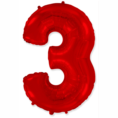 """Шар цифра 3 """"Красная"""""""