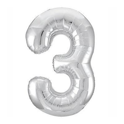 """Шар цифра 3 """"Серебро"""""""