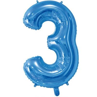 """Шар цифра 3 """"Синий"""""""