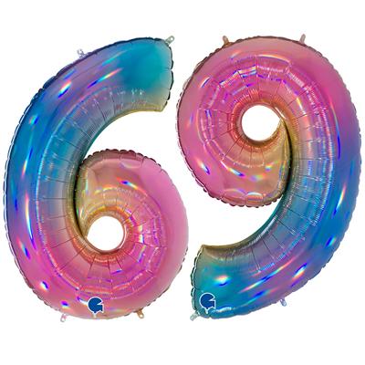 """Шар цифра 6 и 9 """"Радуга"""""""