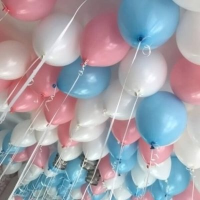 """Шары """"Белый, розовый и голубой"""" 25 шт"""
