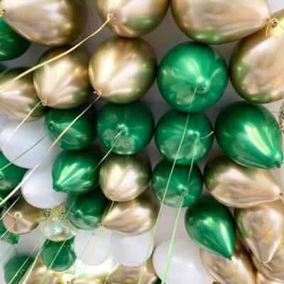 """Шары """"Хром золото, зеленый и белый пастель"""" 30 шт"""